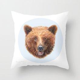 Brown Bear portrait Throw Pillow