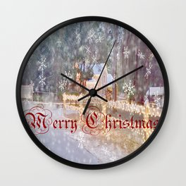 Country Merry Christmas Wall Clock