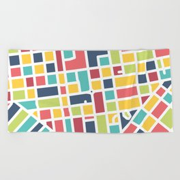 Lancaster, PA Block Map Beach Towel