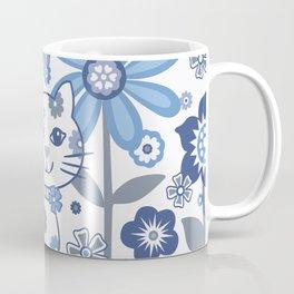 Blue and White Garden Cat Coffee Mug