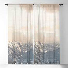 Winter Mountain Forest Adventure Sheer Curtain