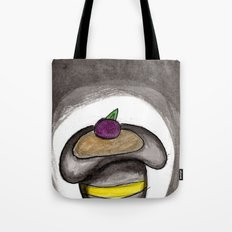 A Single Plum, Floating in Perfume, Served in a Man's Hat Tote Bag