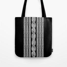 Cable Stripe Black Tote Bag