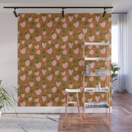 strawberries - pink on umber Wall Mural