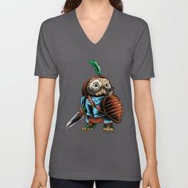 Knight Owl Warrior Cavalier Rider Noble Sword Gift Unisex V-Neck