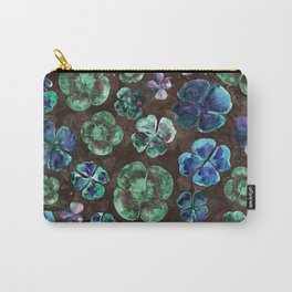 Watercolor Clover Oxalis Leaves Carry-All Pouch