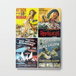 50s Sci-Fi Movie Poster Collage #14 Metal Print