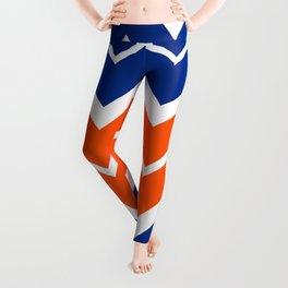 Big Chevron:  Blue + Orange Leggings