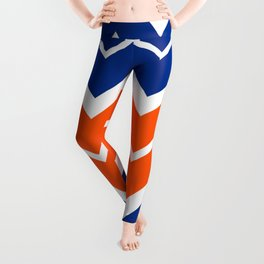 Big Chevron:  Blue + Orange Leggings