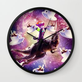 Rave Space Cat On Dinosaur Unicorn With Coffee Wall Clock