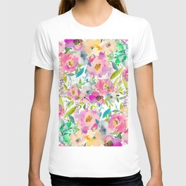Hand painted pink lavender lilac teal watercolor elegant floral T-shirt