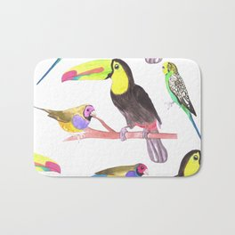 Exotic Pet birds in watercolor- Budgies, toucans and gouldian finches Bath Mat