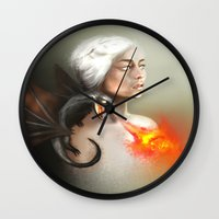 mother of dragons Wall Clocks featuring mother of dragons  by KazuneKoi