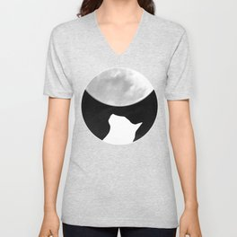 Black And White Dreaming Cat and Moon Design Unisex V-Neck