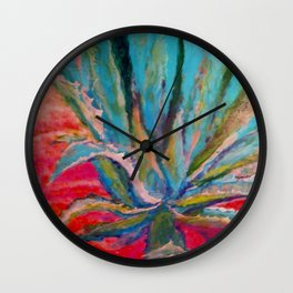 TROPICAL TURQUOISE BLUE AGAVE CACTI FUCHSIA  PATTERN Wall Clock