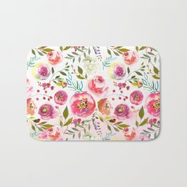 blush pink peonies watercolor fuchsia flowers Bath Mat