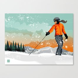 Skier Looking Canvas Print