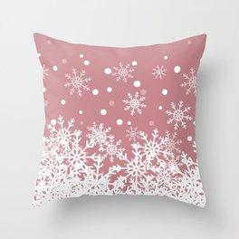 Snow Mauve Background Throw Pillow