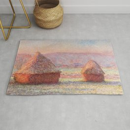 White Frost, Sunrise by Claude Monet Rug