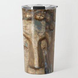 Golden Faces Of Buddha Travel Mug