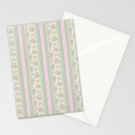 Pink Dogroses on Taupe in Stripes Stationery Cards