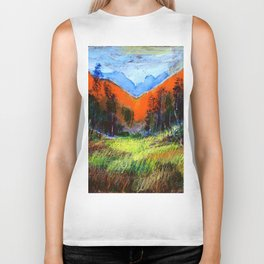 Mountain Meadow Landscape Biker Tank