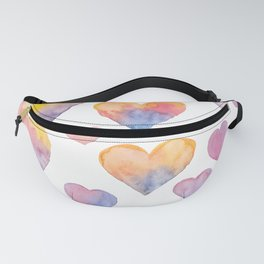 Set of colorful hearts by watercolor Fanny Pack