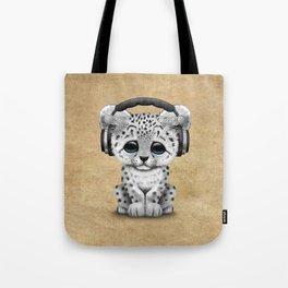 Cute Snow leopard Cub Dj Wearing Headphones Tote Bag