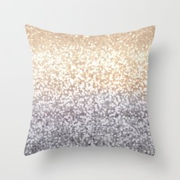 Champagne and Gray Glitter Ombre Throw Pillow
