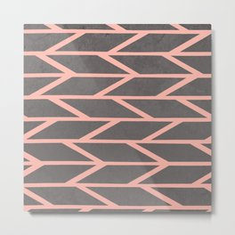 Modern blush pink stripes chevron geometric grey concrete cement background Metal Print