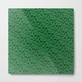 Deep Green Nostalgic Fern Grid Pattern Metal Print