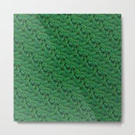 Deep Green Nostalgic Fern Grid Pattern Metal Print
