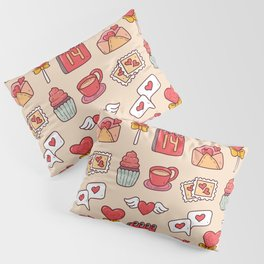 Cute valentine's Kawaii element in doodle style seamless pattern Pillow Sham