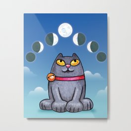 Cat looking at the moon Metal Print