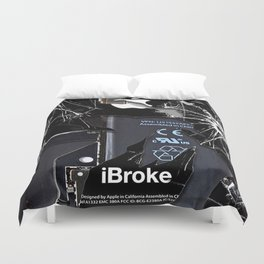 Broken, rupture, damaged, cracked black apple iPhone 4 5 5s 5c, ipad, pillow case and tshirt Duvet Cover