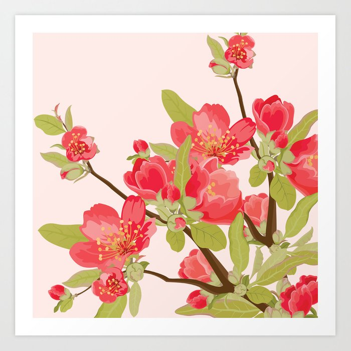 Pink Tree Blossoms Art Print