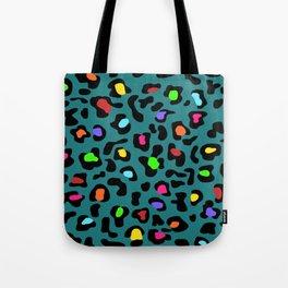 Rainbow Leopard Print Dark Teal Tote Bag