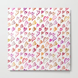Colourful hearts seamless pattern Metal Print