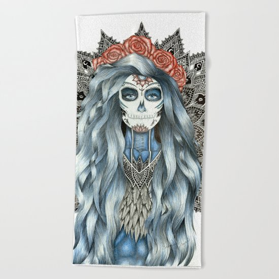 Day of the Dead Woman Mandala Beach Towel