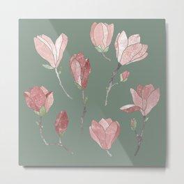 Magnolia flowers on green Metal Print