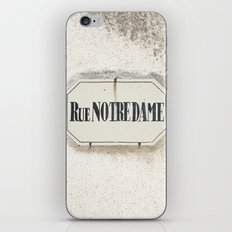 Rue Notredame - France Street Sign Photography iPhone & iPod Skin