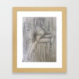 Nude like Egon, Pencil on paper by Jain McKay. Framed Art Print