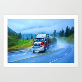 Driving Rain IV - Highway Truck in Rainstorm Artwork Art Print