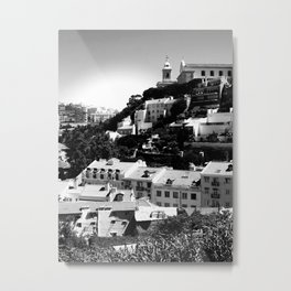 Portugal Hills, Lisbon | Black & White Metal Print