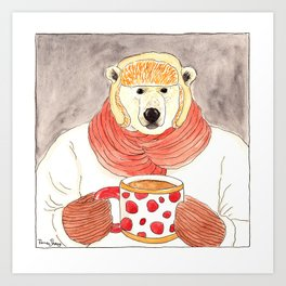 Polar Bear Drinking Hot Chocolate Art Print