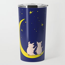 happy pair of pigs in love on the moon Travel Mug