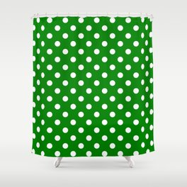 Small Polka Dots - White on Green Shower Curtain