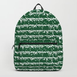 Hebrew on Crusoe Green Backpack