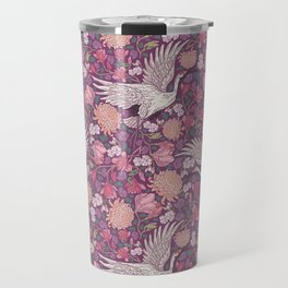 Cranes with chrysanthemums and pink magnolia on purple background Travel Mug
