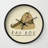 dad Wall Clocks featuring dad bod by Louis Roskosch